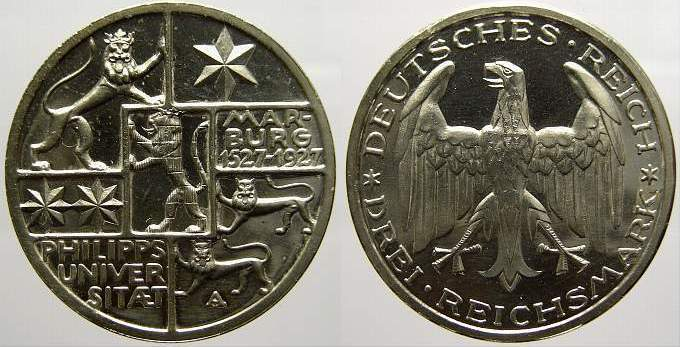 3 Reichsmark 1927 A Weimarer Republik Proof