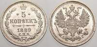 Russland 5 Kopeken 1889 Stempelglanz Zar Alexander III. 1881-1894. 125,00 EUR Tax included +  shipping